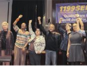 Some of participants at memorial for Transgender warrior Leslie Feinberg leading the singing of the Internationale at SEIU building in New York City, March 28.WW photo: Brenda Ryan