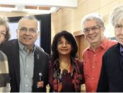 """In Mexico City, Venezuelan and Mexican participants in """"The Parties and a New Society"""" seminar with Berta Joubert-Ceci, center and John Catalinotto, right."""