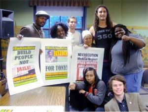 Pam Africa with leaders of the Madison-based Young Gifted and Black coalition and Rockford FIST at the Memorial Union at the University of Wisconsin - Madison, June 26.
