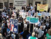 ATU 998 protest at Milwaukee County Courthouse during 72 hour work
