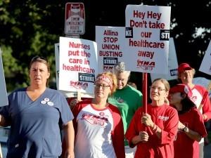 Alina Health nurses on strike.