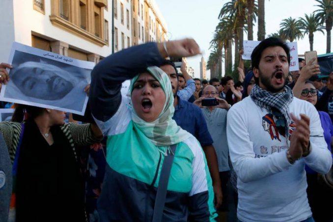 Demonstrators express anger on October 30 at the death of Mouhcine Fikri.