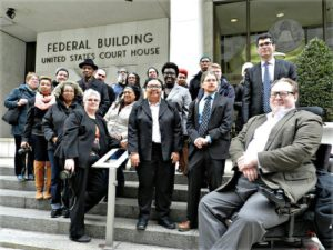Mumia Abu-Jamal supporters outside March 30 court hearing on state's attempt to stop prisoners from speaking out — aimed at the Black political prisoner.WW photo: Joseph Piette