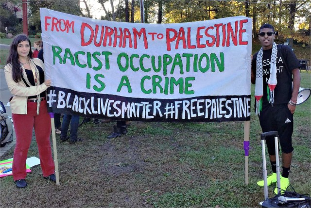 Protest in North Carolina joins anti-racists and those in solidarity with Palestine.WW photo: L.T. Pham