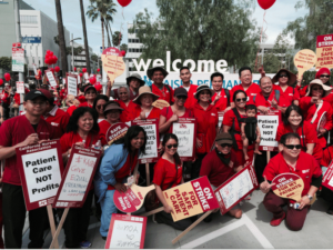 Nurses strike at Kaiser Medical Center in Los Angeles April 30.