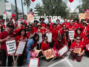 Nurses strike at Kaiser Medical Center in Los Angeles April 30.