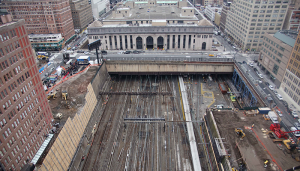 Railroad tracks leading to New York City's Penn Station from under the Hudson River.
