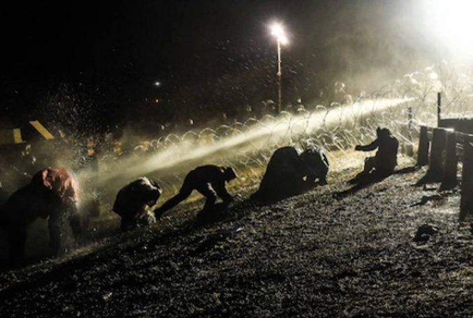 Police turn water cannons on Dakota Access Pipeline protesters.