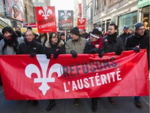 Thousands in protests in Montreal and Quebec City, Nov. 29, 2014.