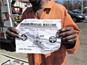 KKK flier left at anti-prison-expansion display.WW photo: Minnie Bruce Pratt