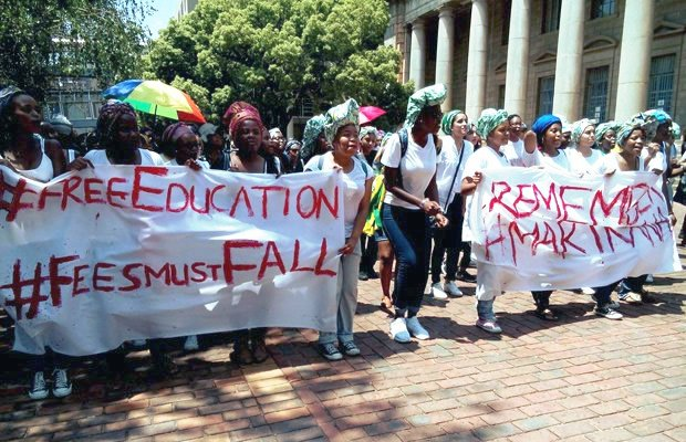 South African students demand lower fees and free education.