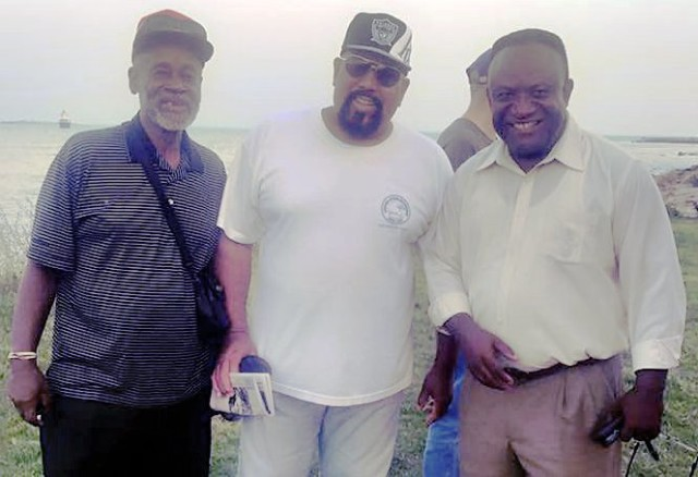 Robert Traynham, USW 8751 member; Greg Oliver, retired member of USW 1357, representing the locked-out workers and Andre Francois, USW 8751 president, at the New Bedford picket line Sept. 1.