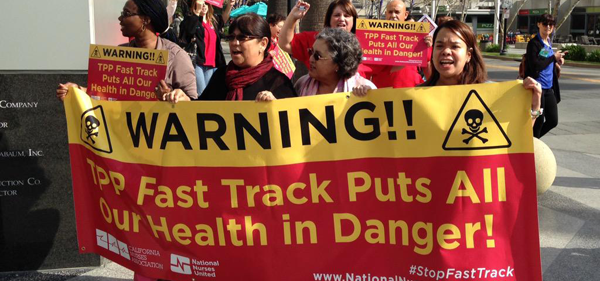 California Nurses protest against TPP.