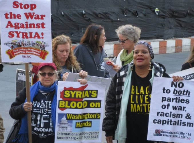 Brooklyn, N.Y., Nov. 5. Protest against U.S. intervention in Syria marches to Hillary Clinton's office.