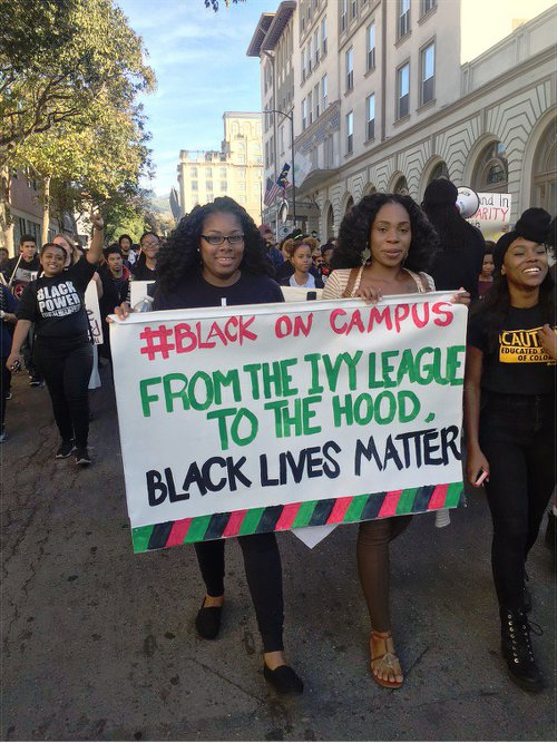 Students march against racism at UC-Berkley, Nov. 18.Photo:  @BLAKEDONTCRACK