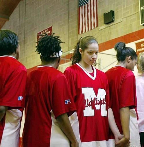 Toni Smith, in 2003, turning her back on U.S. flag.