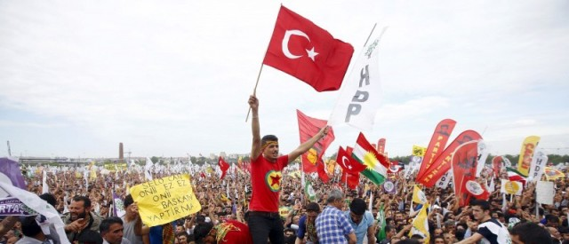 Supporters of the People's Democratic Party (HDP). of Turkey rally