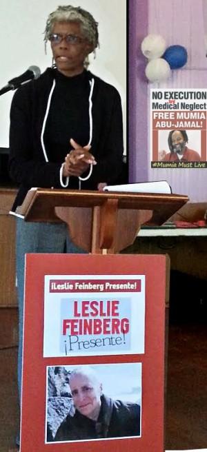 Gloria Verdieu pays tribute to Leslie Feinberg.WW photo:  Terri Kay