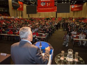 General Secretary of the WFTU, George Mavrikos, speaking at the 17th World Trade Union Congress, Durban, South Africa.