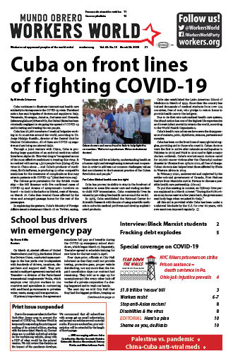 Front page of March 26, 2020 issue
